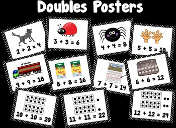 Black and White Doubles Fact Posters