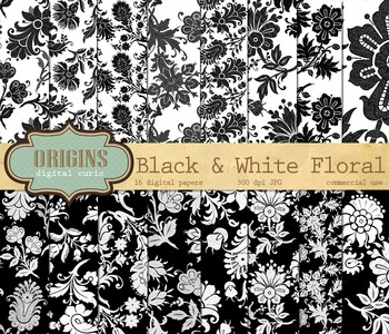 Black and White Floral Digital Scrapbook Paper Backgrounds