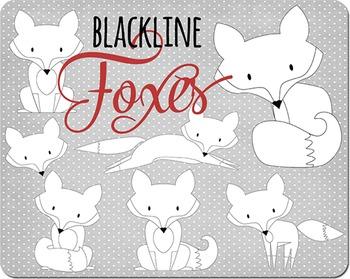 SALE- Black and White Fox Clip Art