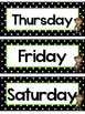 Black and White Green Monkeys Days of the Week Labels.
