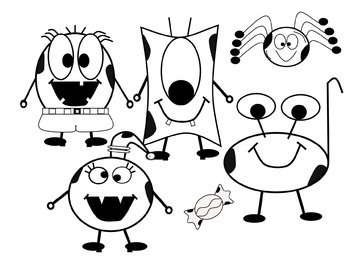 Black and White Halloween Monsters