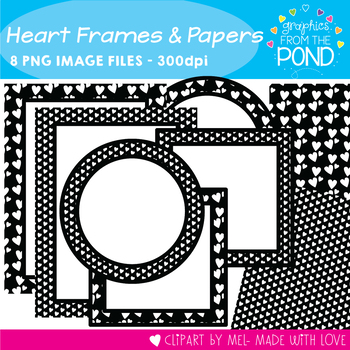 Black and White Heart Frames and Papers Set