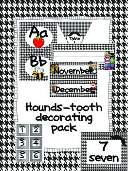 Black and White Hounds-tooth Mustache Decorating Pack