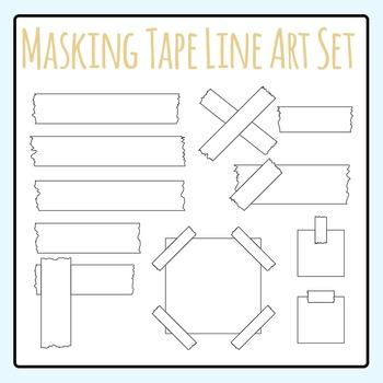Black and White Masking Tape / Stick Tape Clip Art / Line