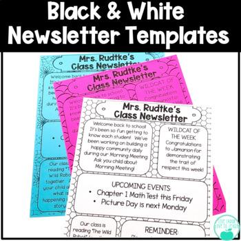 Black and White Newsletter Templates ~Editable~