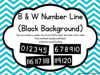 White & Black Number Line 0-120 {Simple}