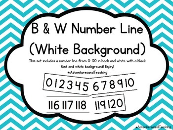 Black & White Number Line 0-120 {Simple}