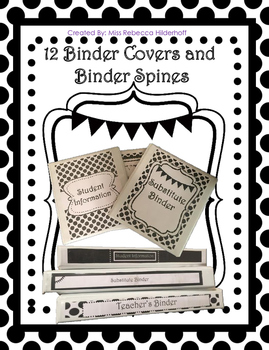 Black and White Polka Dot Binder Covers and Spines