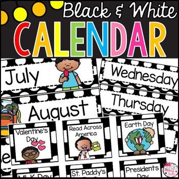 Black and White Polka Dot Calendar Set