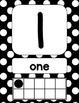 Black and White Polka Dot Number Signs {with counting points}