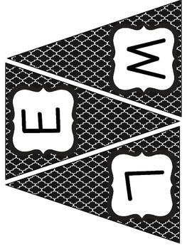 Black and White Quatrefoil Welcome Banners
