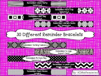 Black and White Reminder Bracelets