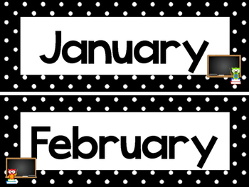 Black and White School Owls 12 Months of the Year Labels.