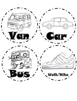 Black and White Transportation Labels