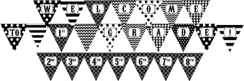 """Black and White """"WELCOME to 1ST-8TH GRADE!"""" Pennant Banner"""