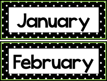 Black and White and Green 12 Months of the Year Labels.
