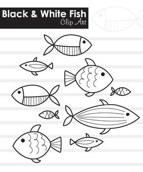 Black and White fish clip art / line art