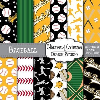 Black and Yellow Baseball Digital Paper 1455
