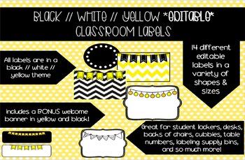 Black and Yellow Label Set *EDITABLE*