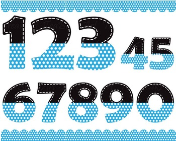Black and blue numbers with white dots - Digital Clip Art