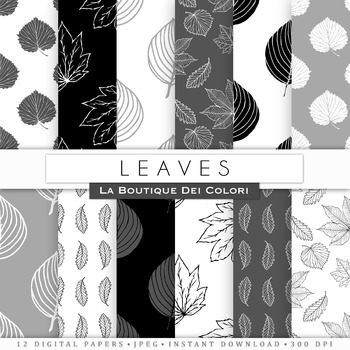 Black and white leaves Digital Paper, scrapbook backgrounds.