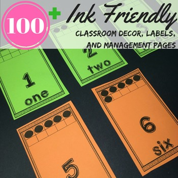 Classroom Theme Brights Ink Friendly print on neon, bright