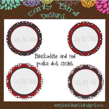 Black, white and red polka dot frames