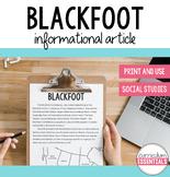 Blackfoot: Aboriginal Cultures Informational Article