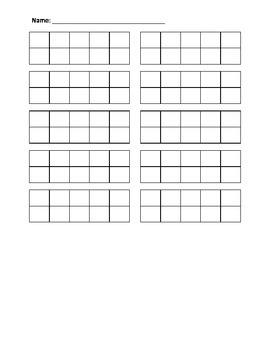 Blank 10 10s-frame worksheet
