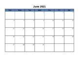 Blank Calendar - June 2015 - June 2016