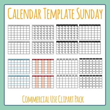 Blank Calendar (Sunday Start) Template Clip Art Set for Co