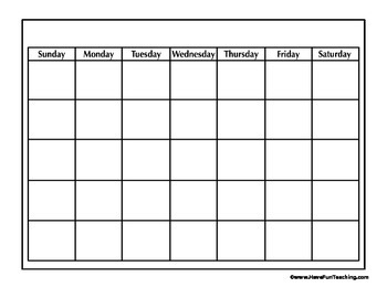 Blank Calendar Worksheet