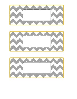 Blank Chevron Basket Labels - Grey & Yellow