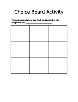 Blank Choice Board Template with IB ATL's