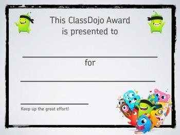 Blank ClassDojo Achievement Certificate