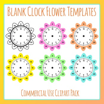 Blank Clock Flowers Template Clip Art Set for Commercial U