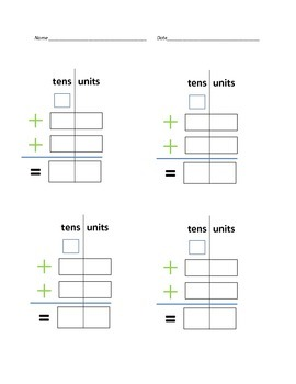 Blank Double Digit Addition with regrouping worksheet