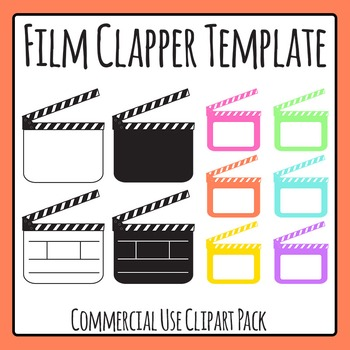 Blank Drama Film Clapper Boards Clip Art for Commercial Use