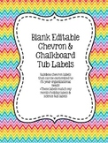 Blank Editable Organizational Tub Labels - Chevron & Chalkboard!