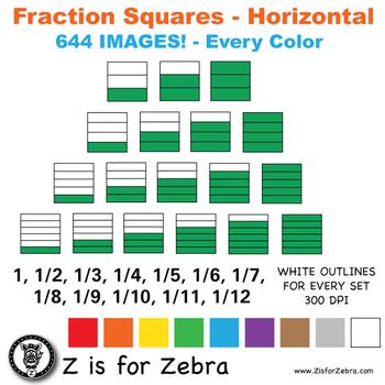 Blank Fraction Square Clip Art 644 Images - Horizontal - C