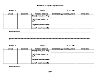 Blank Generic Word Bank for English Language Learners