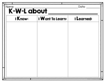 Blank KWL Chart FREEBIE!