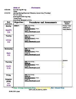 Blank Kindergarten Lesson Plan Template
