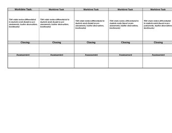 Blank Lesson Plan Template (editable)