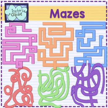 Mazes clipart {6 designs x 8 colors each}