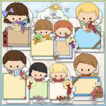 Blank Message Kids -Flowers Clip Art - Back To School Clip