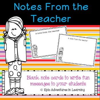 Blank Notes from the Teacher