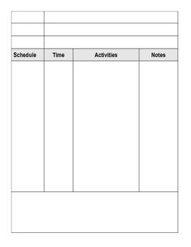 Blank Planning Schedule