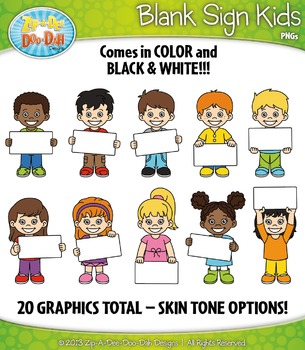 Blank Sign Kid Characters Clipart Set — Includes 20 Graphics!