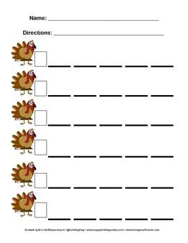 Blank Skip Counting Sheet - Turkey Theme